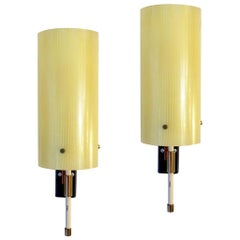 Casey Fantin 1950s Italian Pair of Modernist Yellow Striped Glass Wall Lights