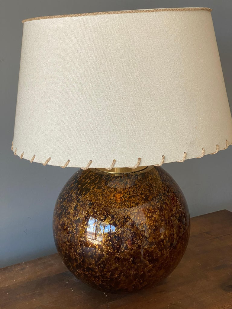 Mid-Century Modern Casey Fantin, Large Table Lamp, Glass, Brass, Italy, 1960s For Sale