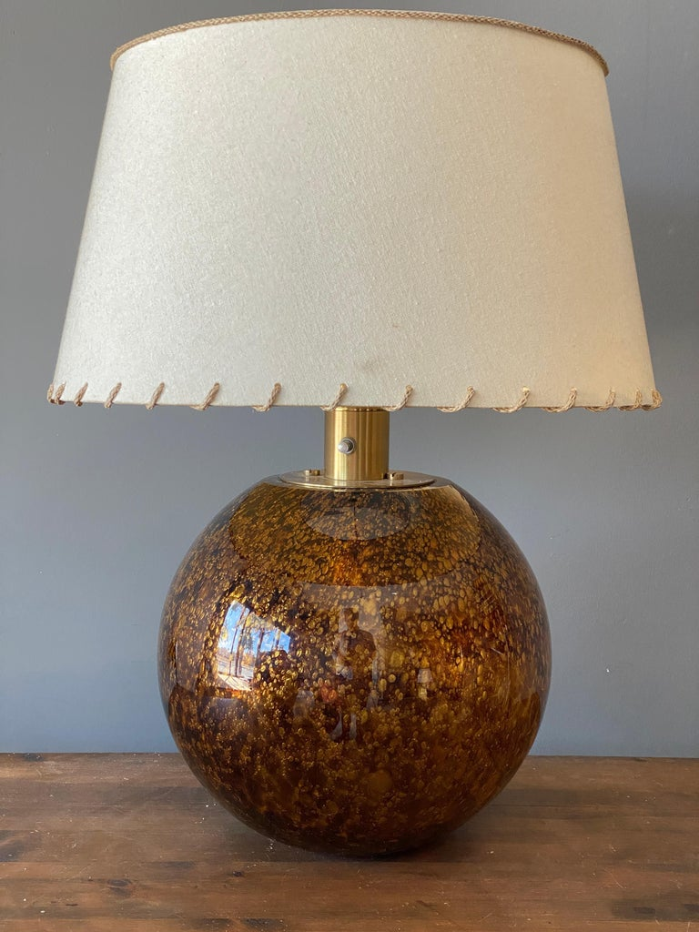 Italian Casey Fantin, Large Table Lamp, Glass, Brass, Italy, 1960s For Sale