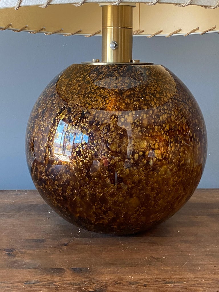 Casey Fantin, Large Table Lamp, Glass, Brass, Italy, 1960s In Good Condition For Sale In West Palm Beach, FL