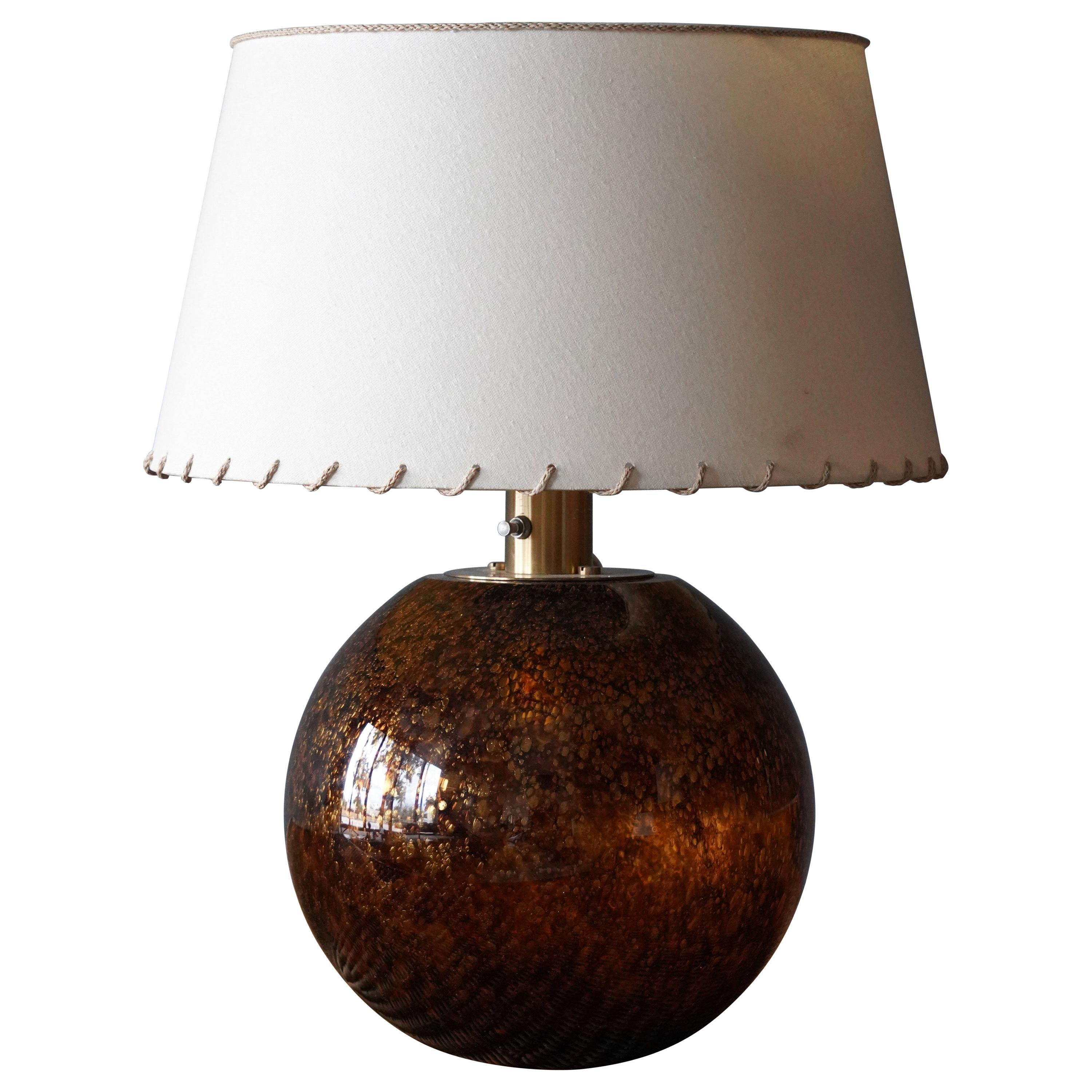 Casey Fantin, Large Table Lamp, Glass, Brass, Italy, 1960s