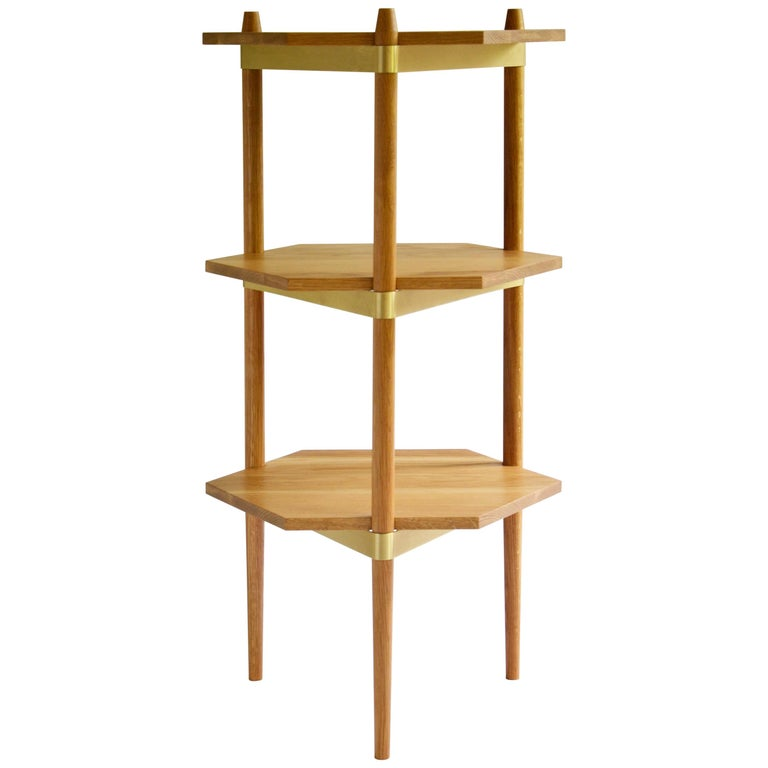 """Contemporary Display Shelving """"Primo"""" in White Oak and Brass by Casey Lurie  For Sale"""