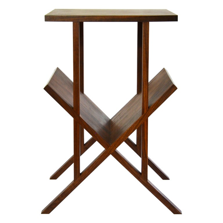 """Modern Contemporary """"Lap"""" Side Table in Walnut by Casey Lurie USA For Sale"""