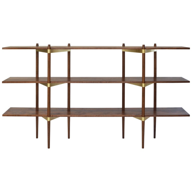 "Casey Lurie Studio Modern Low ""Primo"" Shelving System in Walnut with Brass For Sale"