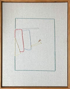 Lawn,  Hand Stitched  Canvas, Cherry Wood Frame