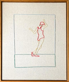 Swing,  Hand Stitched Canvas, Cherry Wood Frame