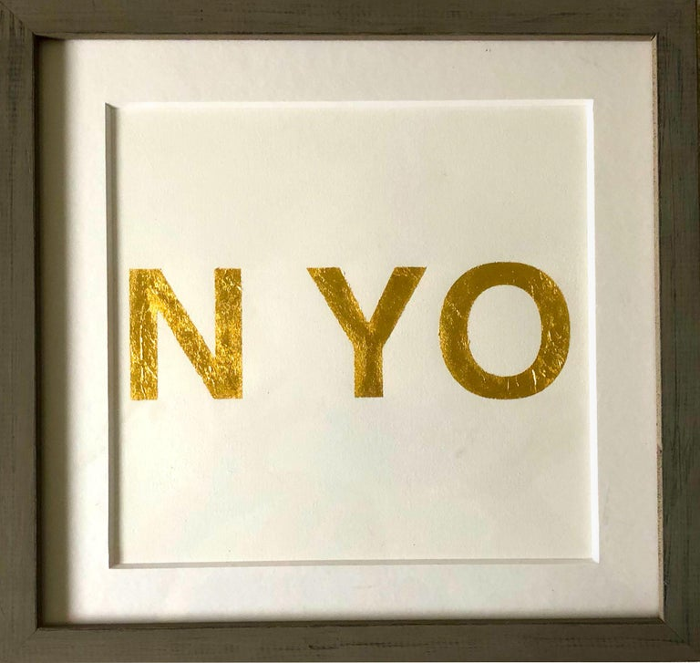 When You Love Someone, 2015, Metal Gold Leaf on Archival Paper - Contemporary Print by Casey Waterman