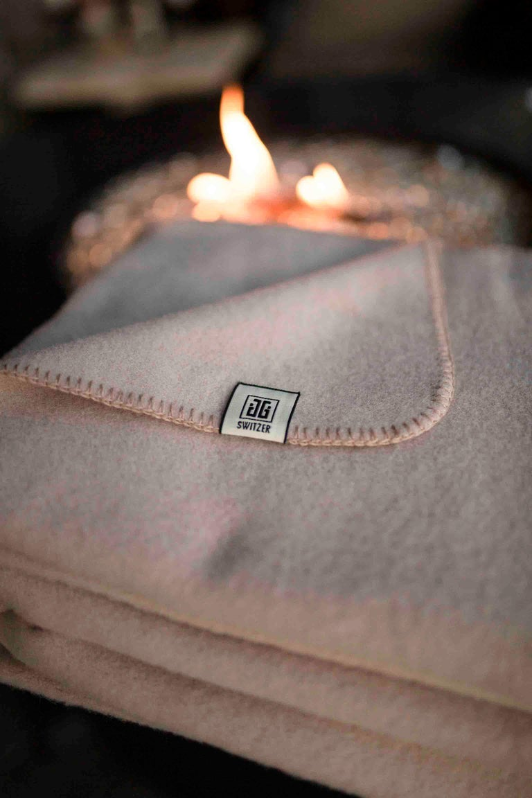 Woven Cashmere Blend Throw in Champagne Color by JG Switzer For Sale