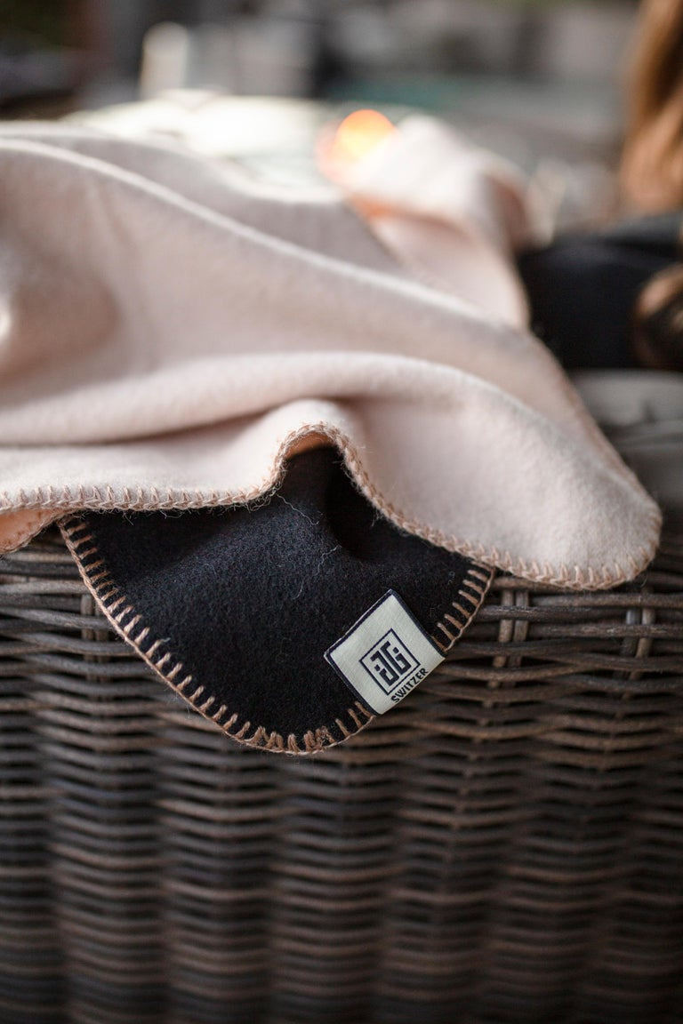 Cashmere Blend Throw in Champagne Color by JG Switzer In New Condition For Sale In Sebastopol, CA