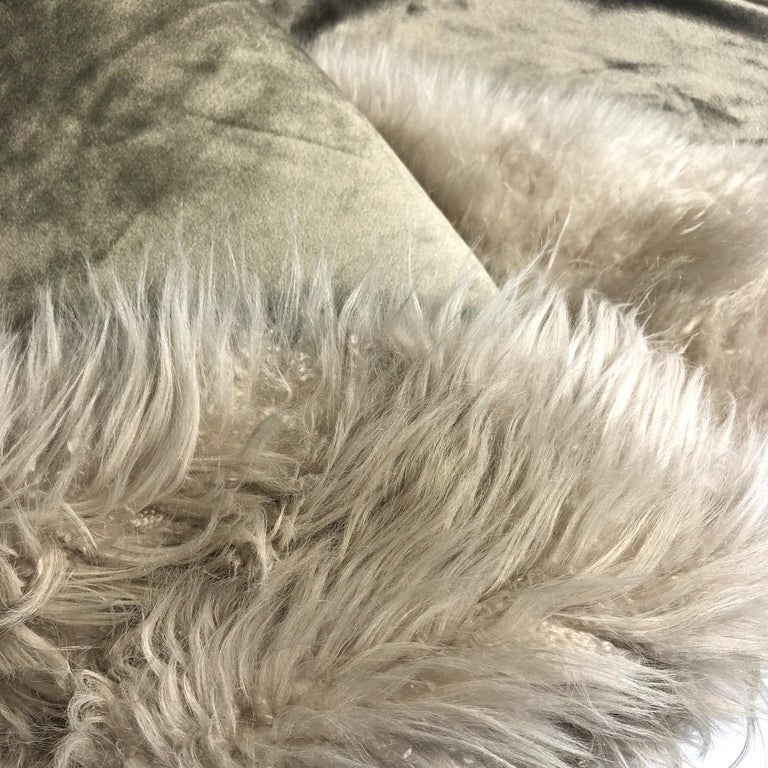 Hand-Crafted Cashmere Fur Sofa Bed Throw Blanket For Sale