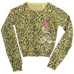 Cashmere Leopard Sweater with Embroidered Flowers
