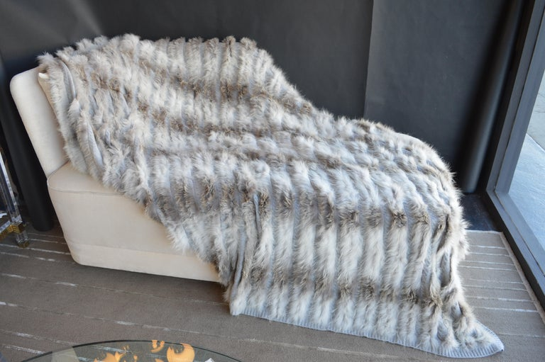 100% grey Cashmere blanket with silver fox trim. Throw blanket.