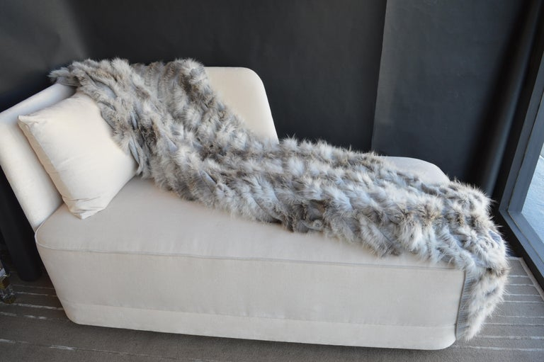 Italian Cashmere Throw Blanket with Silver Fox Trim For Sale
