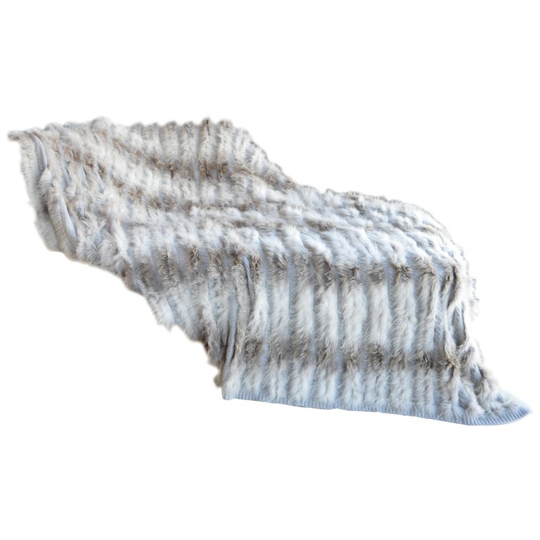 Cashmere Throw Blanket with Silver Fox Trim For Sale