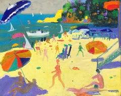 Beach's day Costa Brava Spain seascape oil on canvas painting