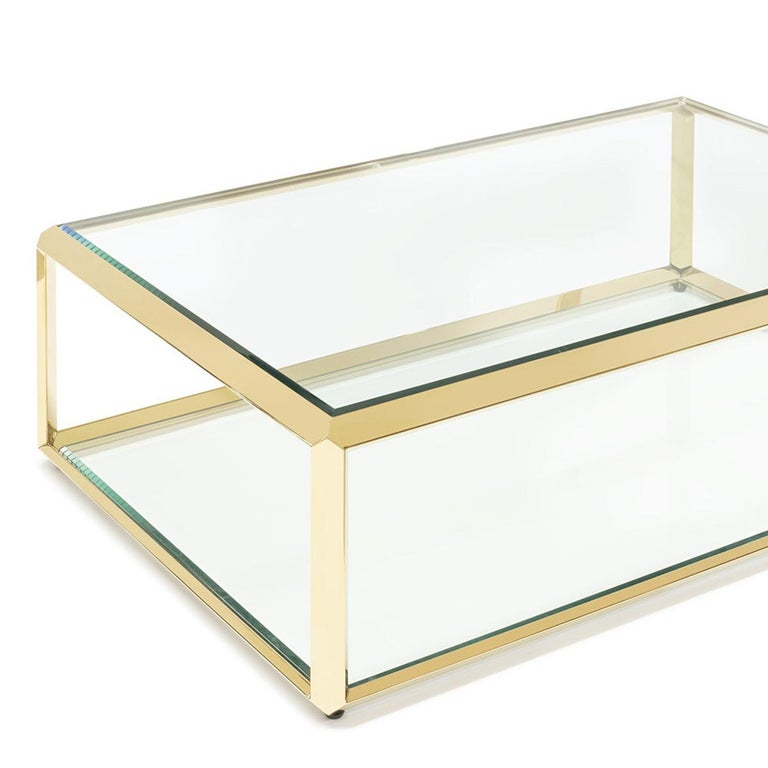 Italian Casiopee Coffee Table in Gold Finish For Sale
