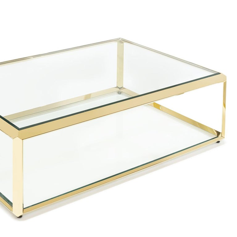 Beveled Casiopee Coffee Table in Gold Finish For Sale