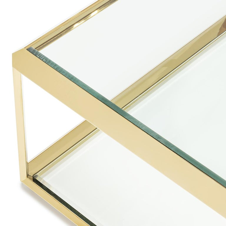 Contemporary Casiopee Coffee Table in Gold Finish For Sale