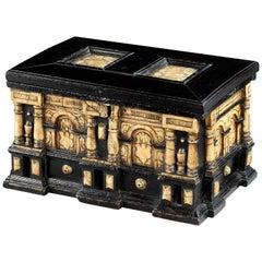 Casket, Box, Cabinet, Architectural, Ebonized, Alabaster, Secretdrawers, Malines