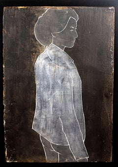 Reine on Clay by Casper Faassen, Mixed Media on Cardboard Figurative Painting