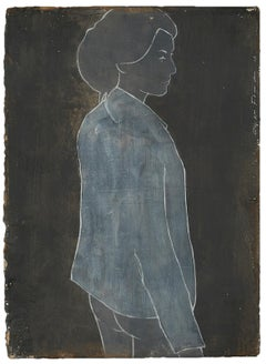 Reine on Clay by Casper Faassen, Mixed Media on Cardboard Figurative Painting