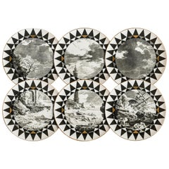 Casquets, Six Contemporary Porcelain Dinner Plates with Decorative Design