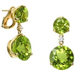 Cassandra Goad 9 Karat Yellow Gold Riviere Double Peridot and Diamond Earrings