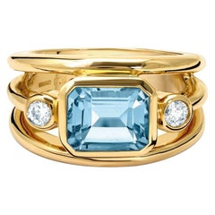 Cassandra Goad Aeneus Yellow Gold Aquamarine and Diamond Ring