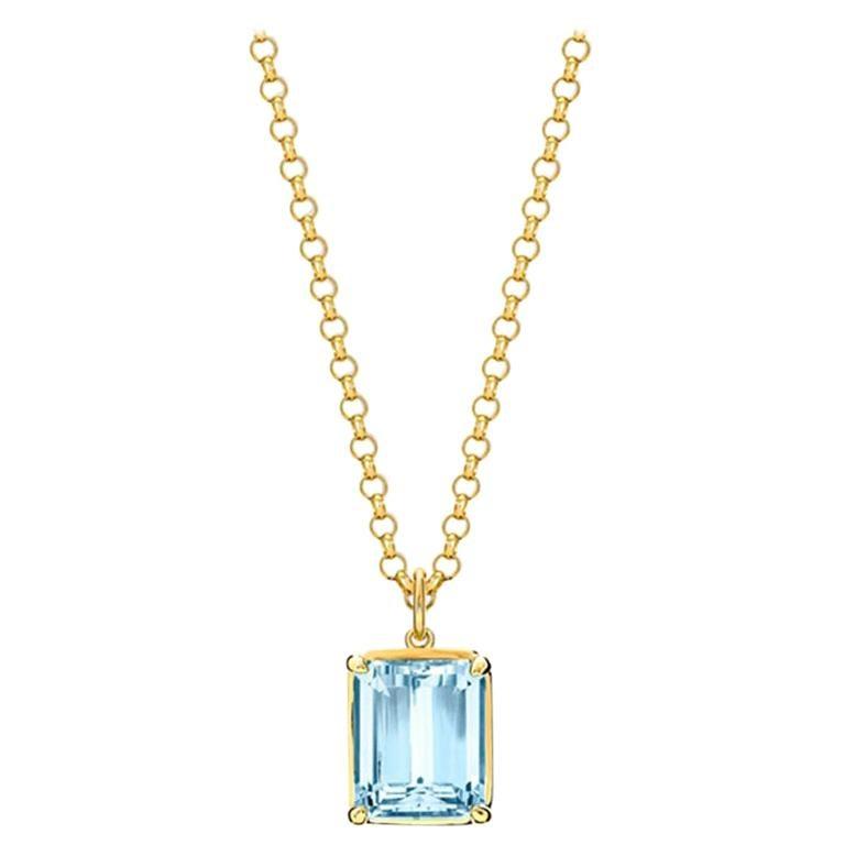 Cassandra Goad Carrelino Emerald Cut 18 Karat Gold Aquamarine Pendant