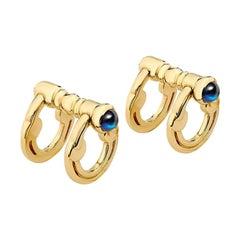 Cassandra Goad Diego Gold Cufflinks with Sapphire