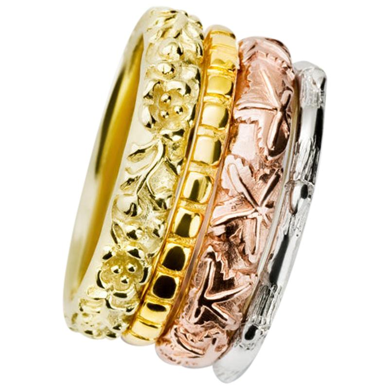 Cassandra Goad Four Seasons 18 Carat Yellow, White, Rose Gold Ring