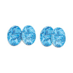 Cassandra Goad Great Wall of China Blue Enamel Silver Cufflinks