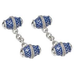 Cassandra Goad Iguminov Blue Enamel Silver Cufflinks