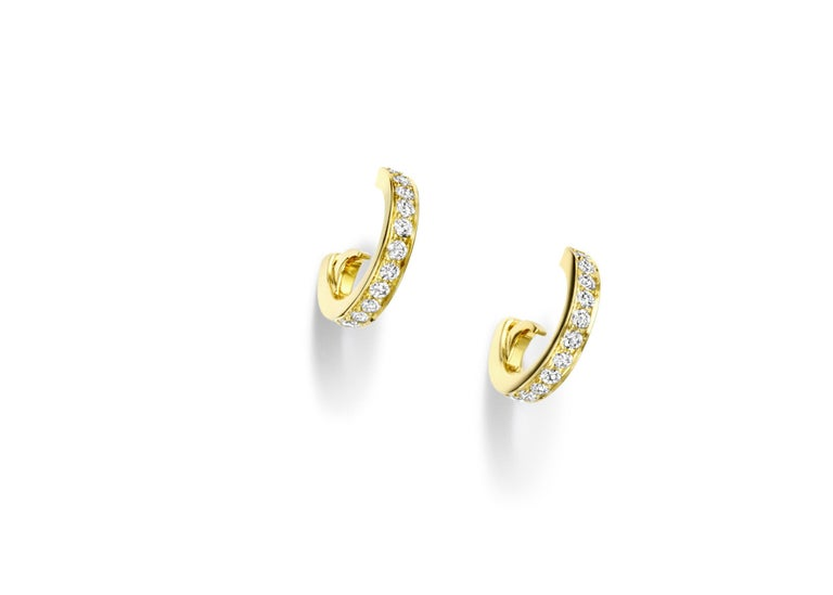 Octavia earrings in 18 karat yellow gold set with diamond pave and very fine drop shape freshwater pearls on diamond pave Astrea hoops. Each earring, including hoop, measures approximately 36mm in length.