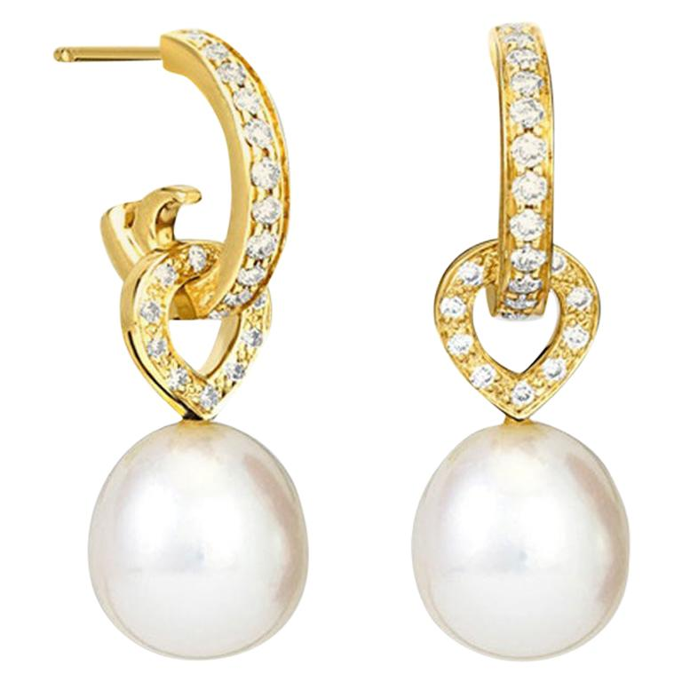 Cassandra Goad Octavia Pearl and 18 Karat Yellow Gold Earrings For Sale