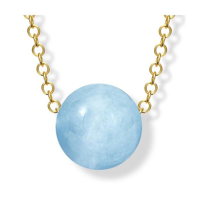 Contemporary Cassandra Goad Pelota Aquamarine and 9 Karat Gold Necklace For Sale
