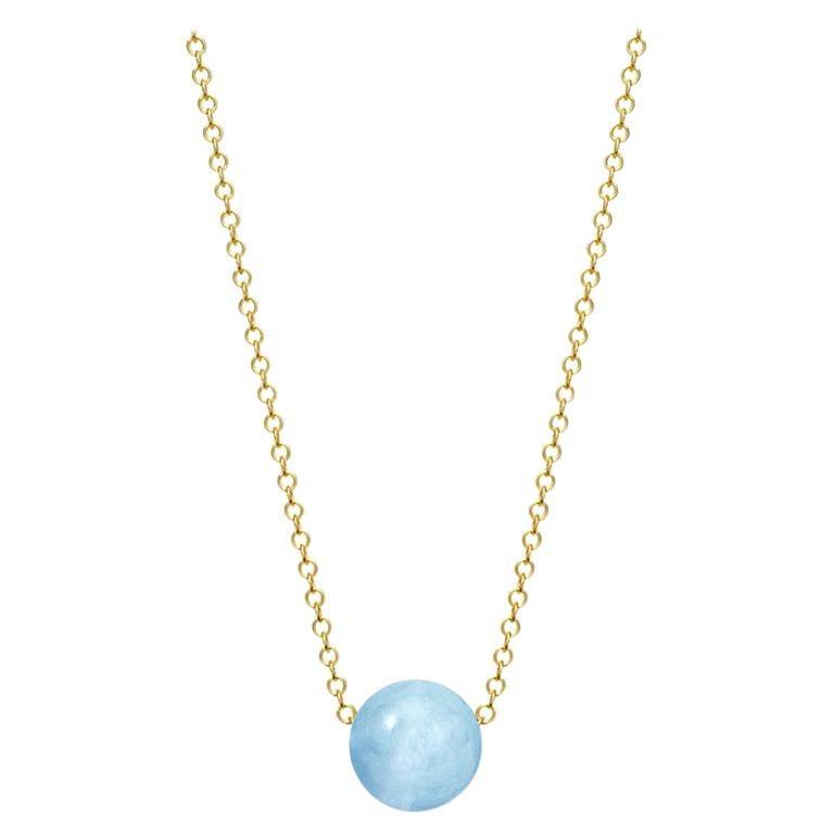 Cassandra Goad Pelota Aquamarine and 9 Karat Gold Necklace For Sale