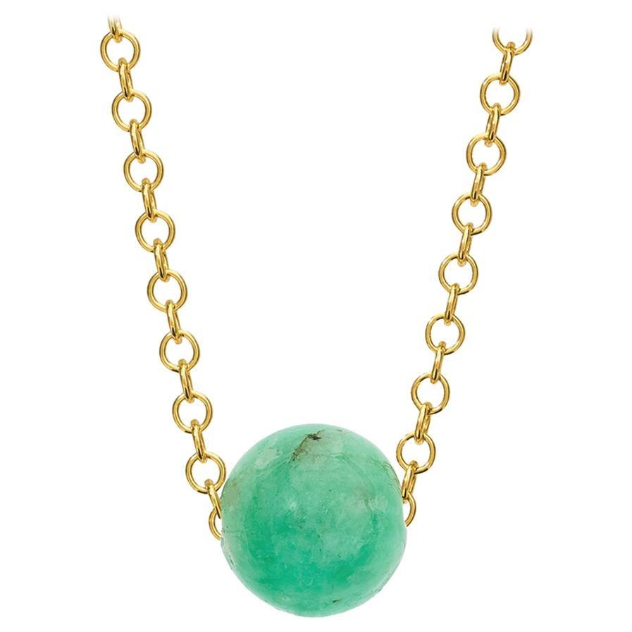 Cassandra Goad Pelota Emerald and 9 Karat Gold Necklace