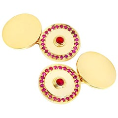 Cassandra Goad Pushkin Ruby Gold Cufflinks