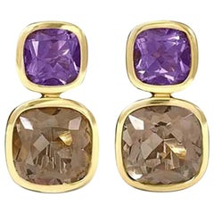 Cassandra Goad Qin and Han Amethyst and Smoky Quartz Earrings