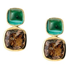 Cassandra Goad Qin and Han Blue Green Tourmalines and Smoky Quartz Earrings