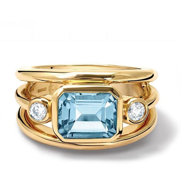 Contemporary Cassandra Goad Yellow Gold Aeneus Aquamarine and Diamond Ring