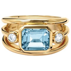 Cassandra Goad Yellow Gold Aeneus Aquamarine and Diamond Ring