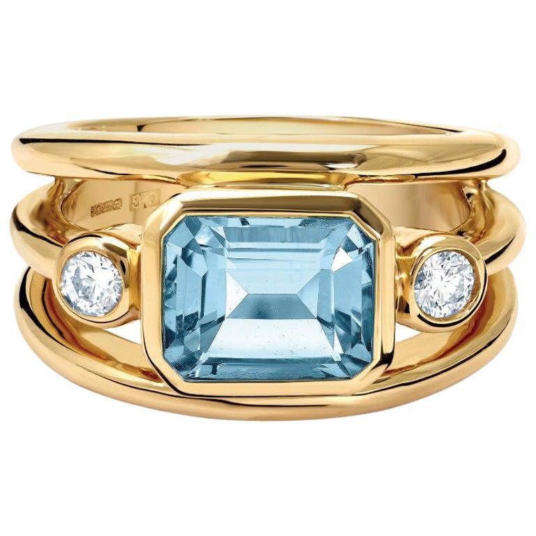 Cassandra Goad Yellow Gold Aeneus Aquamarine and Diamond Ring