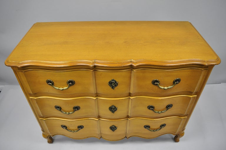 Carved Cassard Country French Provincial Louis XV Style Commode Fruitwood Chest Drawers For Sale