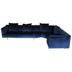 "Cassina ""250 MET"" L-Shape Sectional Sofa in Navy Blue Velvet"
