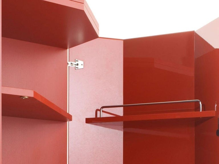 Modern Cassina Bramante Glossy Rosso Lacquered Cabinet with LED by Kazuhide Takahama For Sale