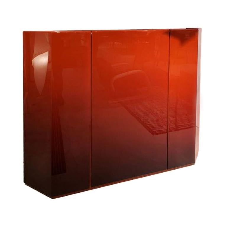 Cassina Bramante Glossy Rosso Lacquered Cabinet with LED by Kazuhide Takahama For Sale