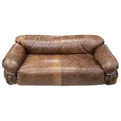 Cassina Brown Leather Loveseat Sofa Newly Upholstered