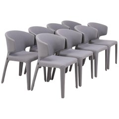 Cassina by Hannes Wettstein 367 Hola Grey Fabric Dining Chairs, Set of 8